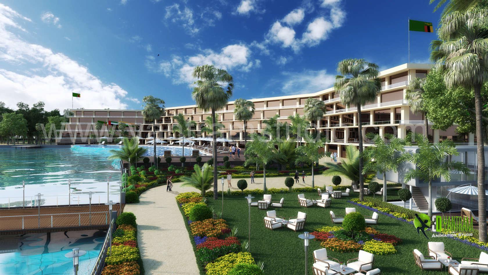 3d hotel resort exterior design architizer for Resort hotel design