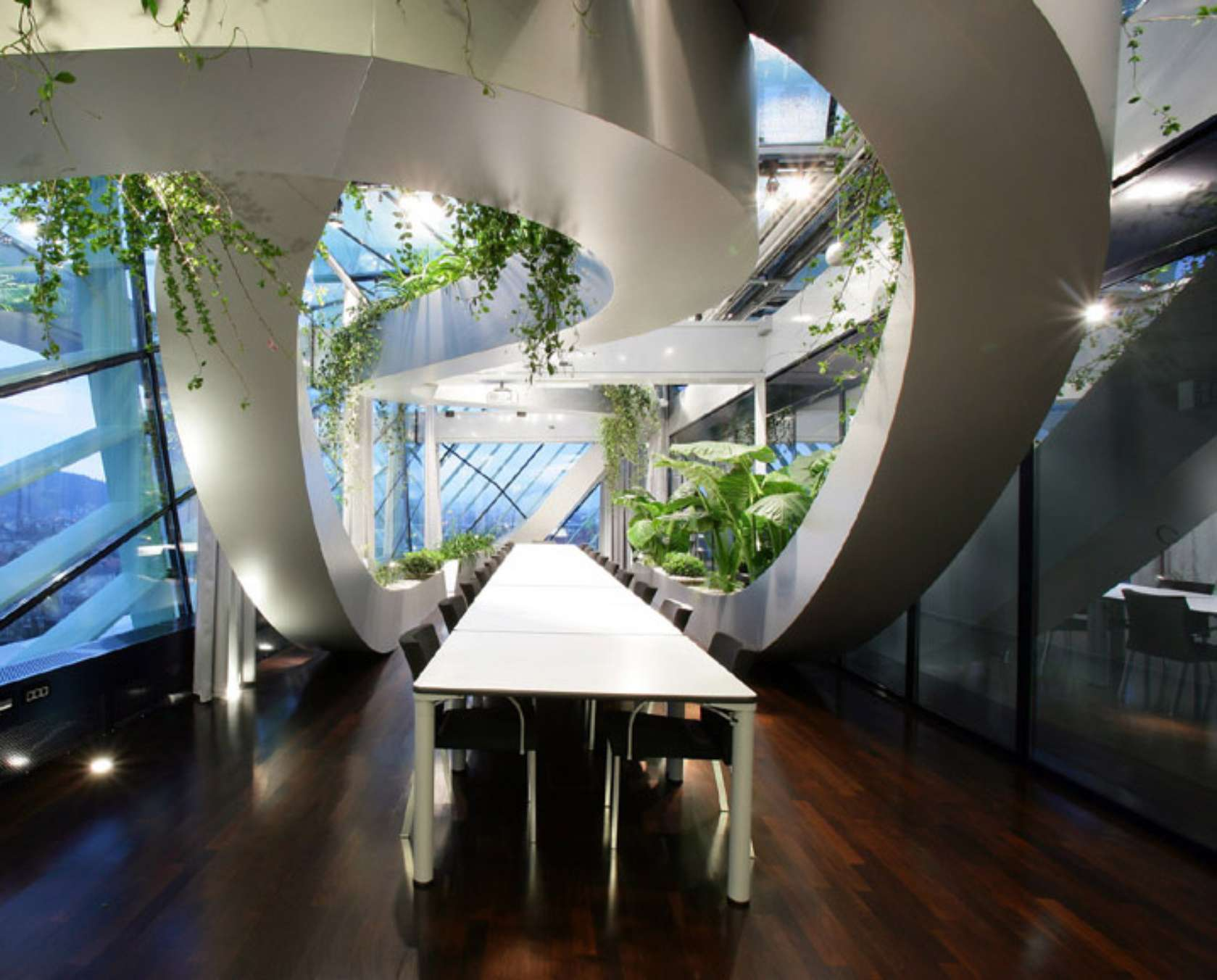 Panoramic garden of ccis architizer for Office design of the future